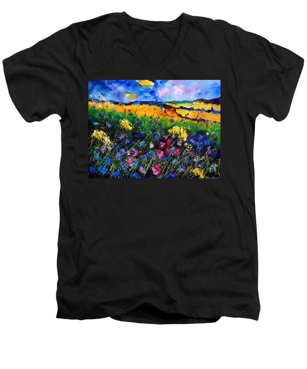 Flowers Men's V-Neck T-Shirt featuring the painting Cornflowers 680808 by Pol Ledent