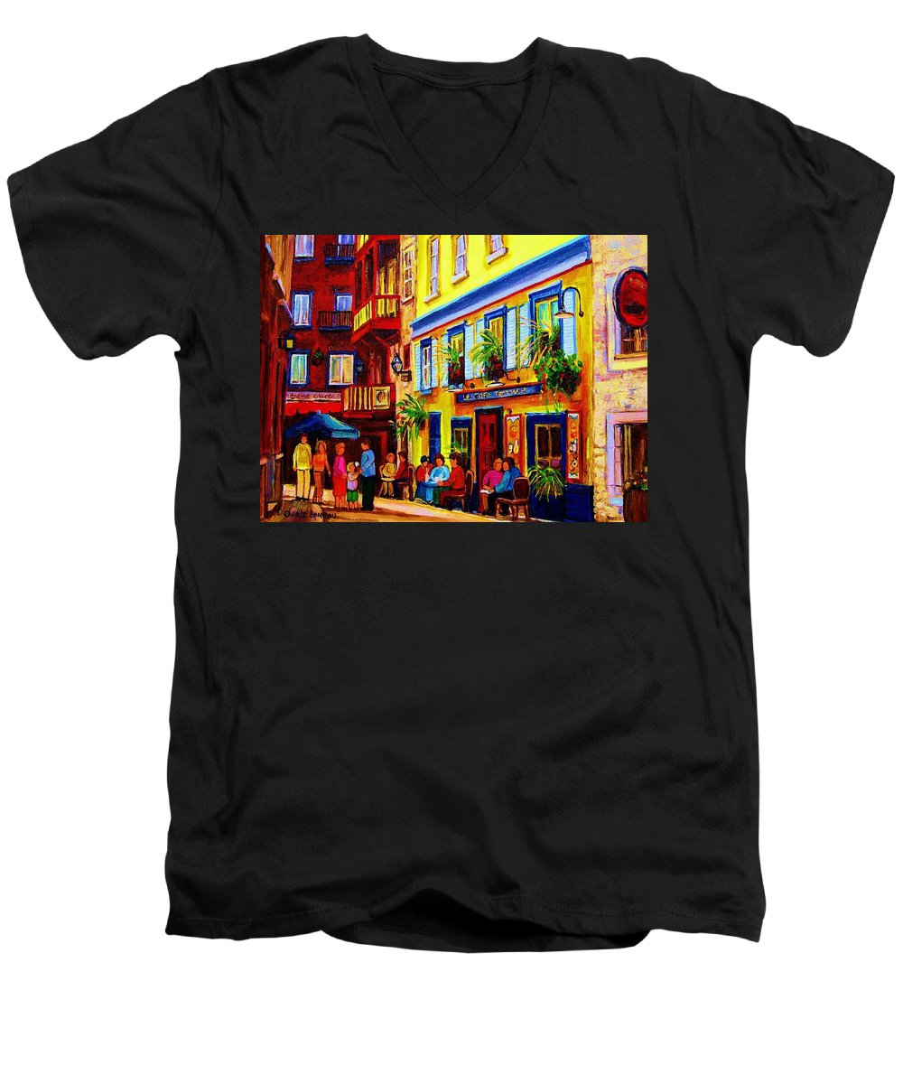 Courtyard Cafes Men's V-Neck T-Shirt featuring the painting Courtyard Cafes by Carole Spandau