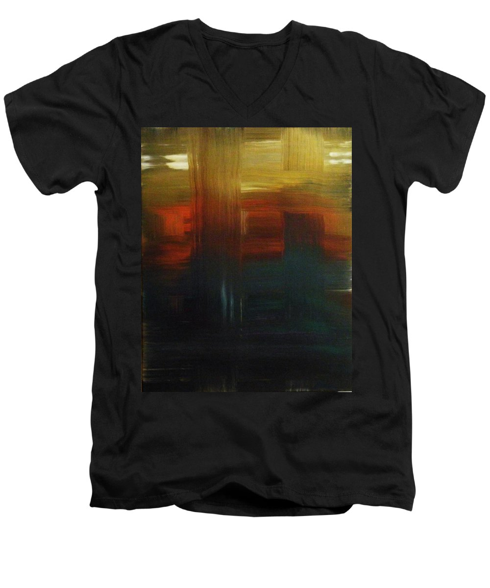 Abstract Men's V-Neck T-Shirt featuring the painting Crossroads by Todd Hoover
