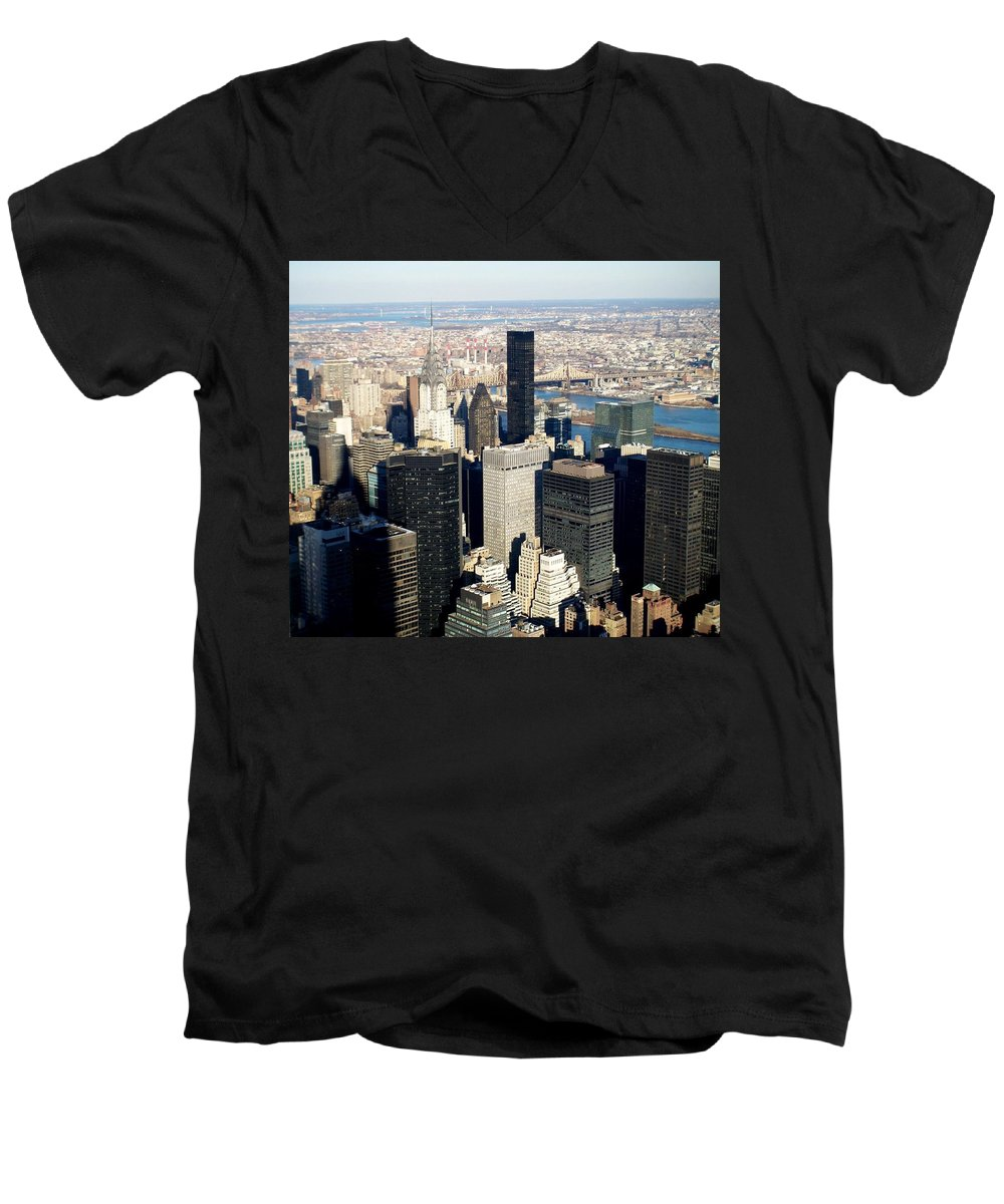 Crystler Building Men's V-Neck T-Shirt featuring the photograph Crystler Building 2 by Anita Burgermeister