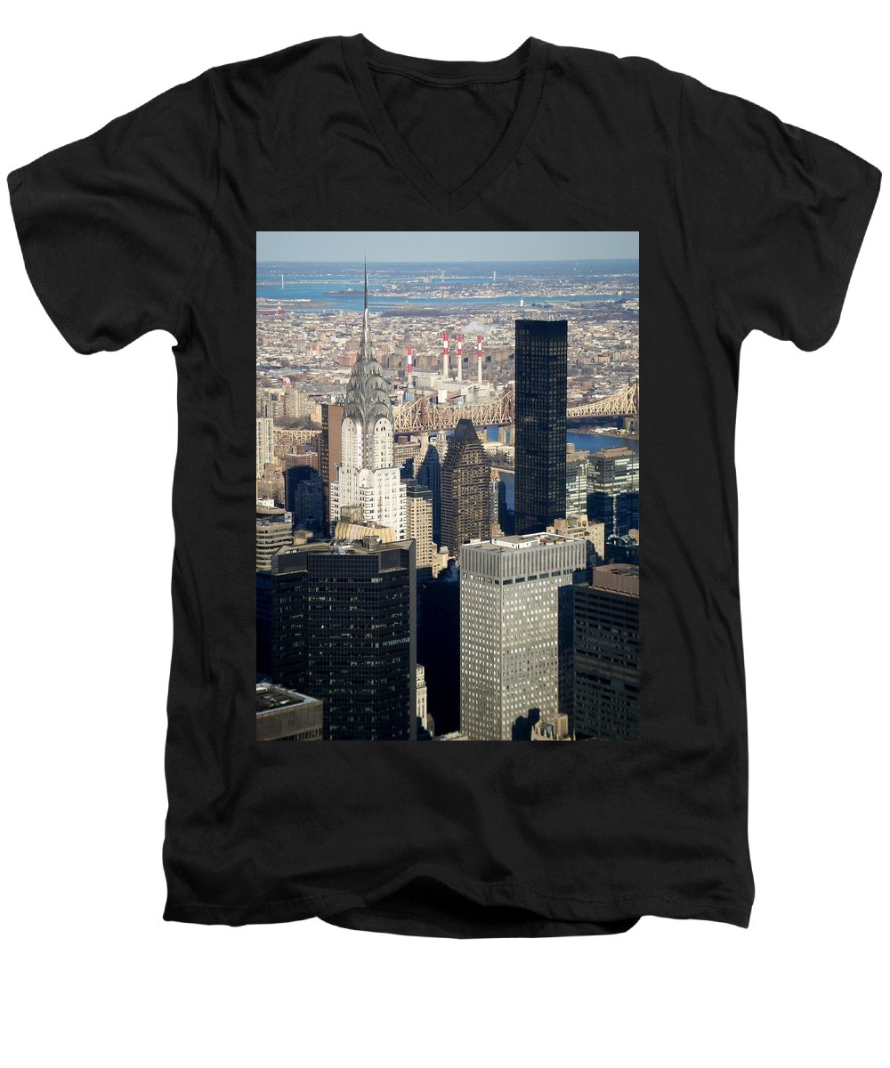 Crystler Building Men's V-Neck T-Shirt featuring the photograph Crystler Building by Anita Burgermeister