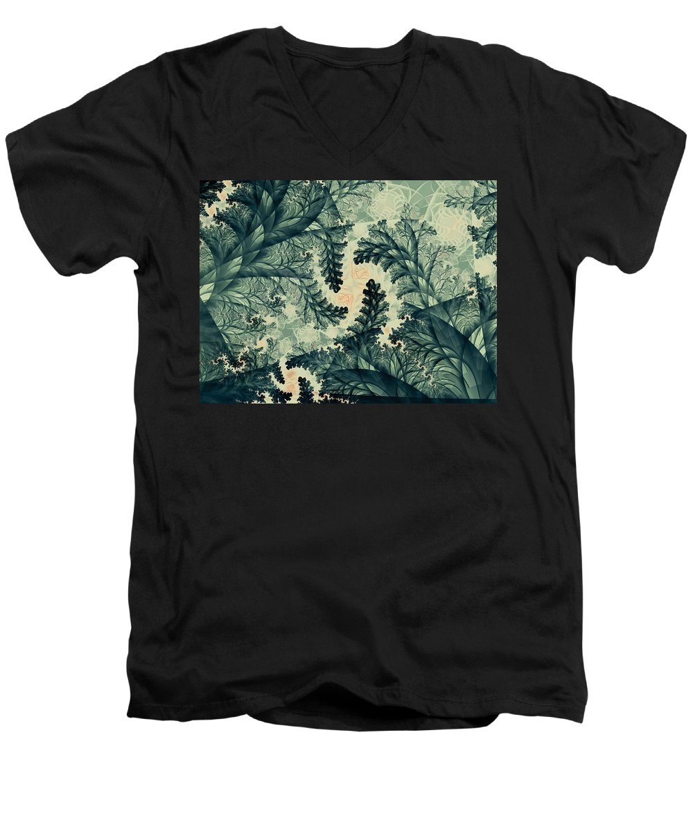 Plant Men's V-Neck T-Shirt featuring the digital art Cubano Cubismo by Casey Kotas