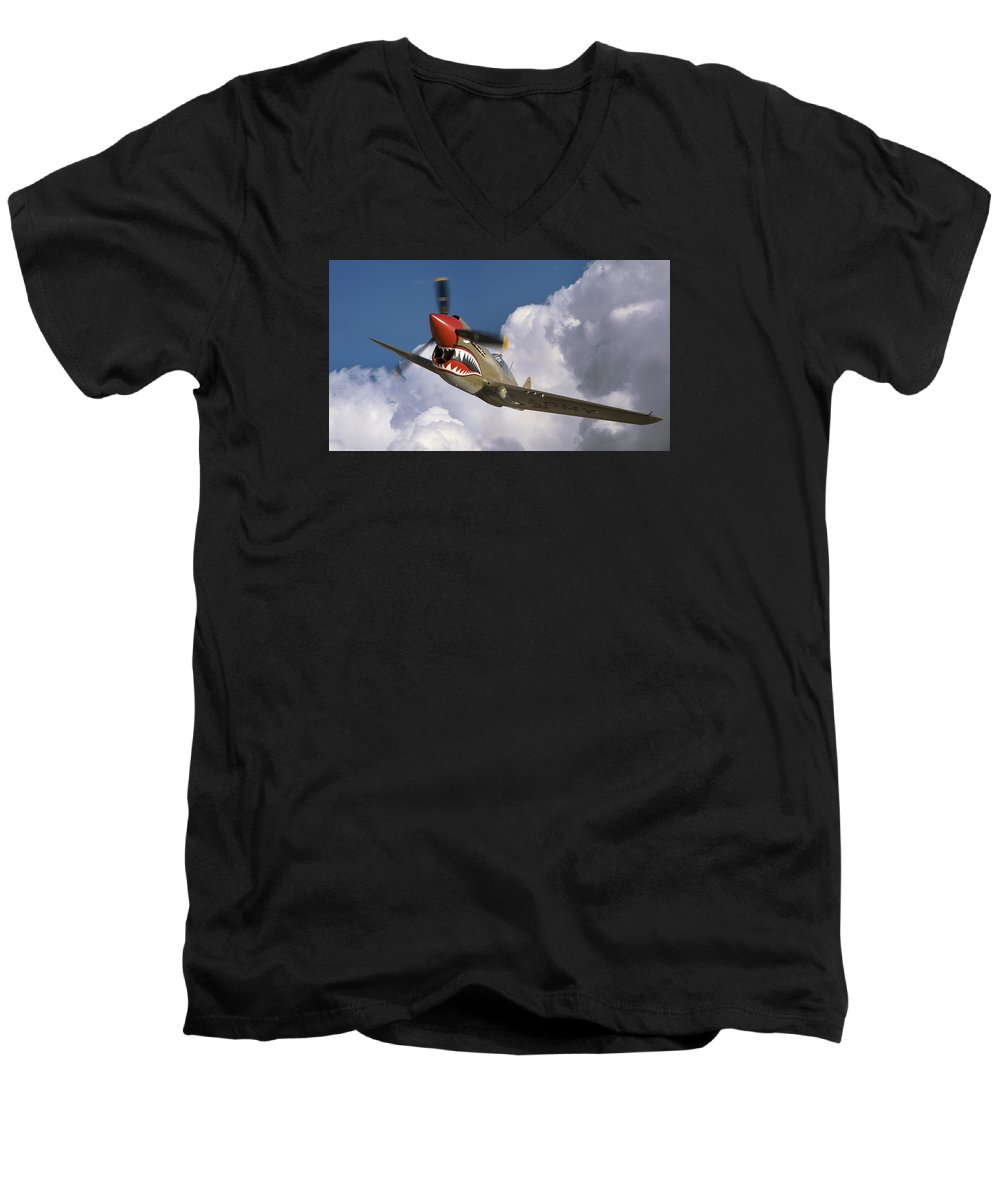 Flying Tigers Men's V-Neck T-Shirt featuring the photograph Curtiss P-40n Warhawk by Larry McManus