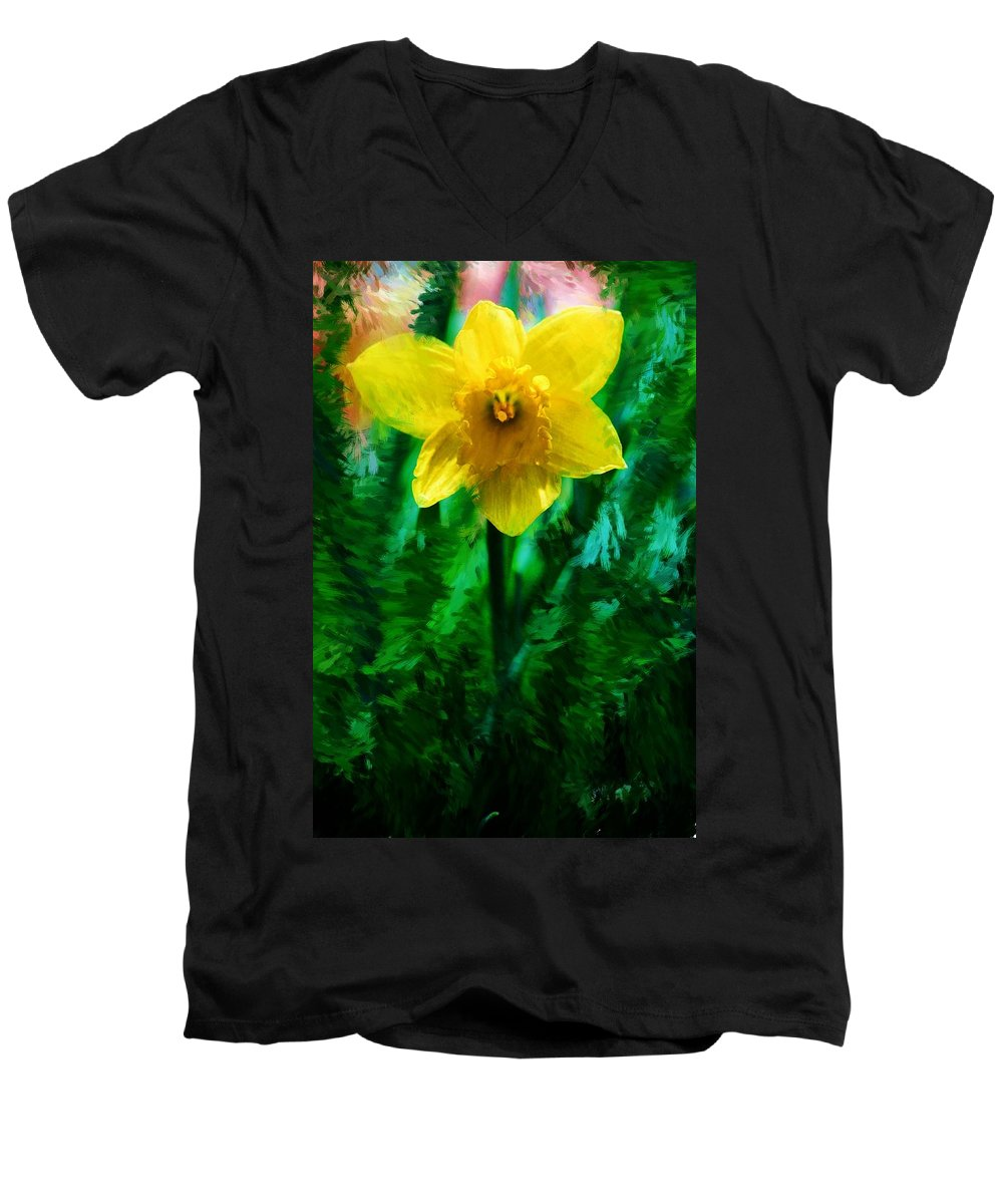 Abstract Men's V-Neck T-Shirt featuring the photograph Daffy Dill by David Lane