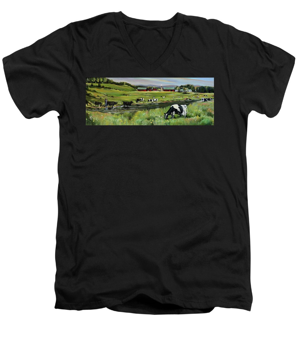 Landscape Men's V-Neck T-Shirt featuring the painting Dairy Farm Dream by Nancy Griswold