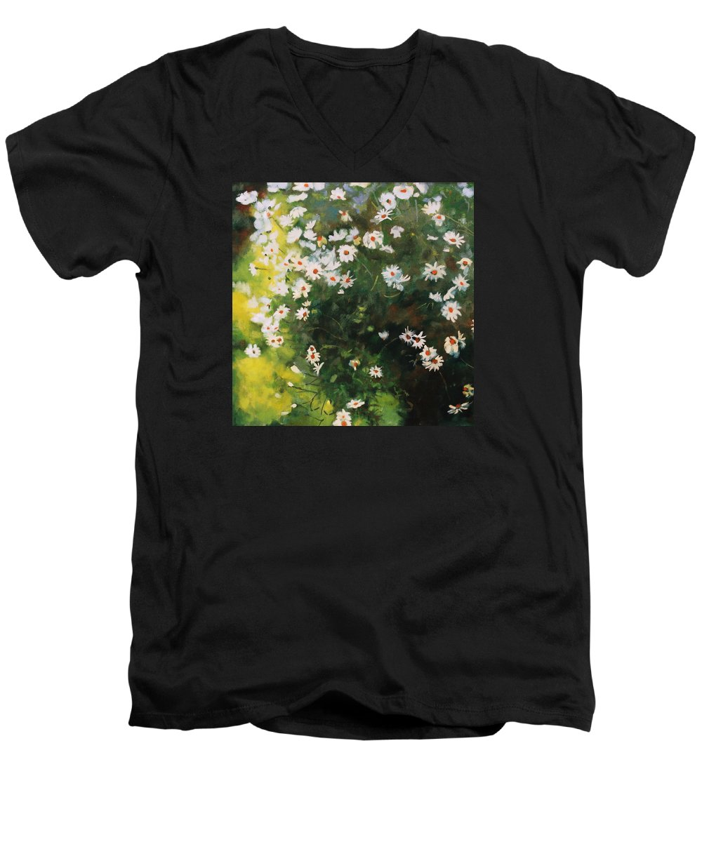 Daisies Men's V-Neck T-Shirt featuring the painting Daisies by Iliyan Bozhanov