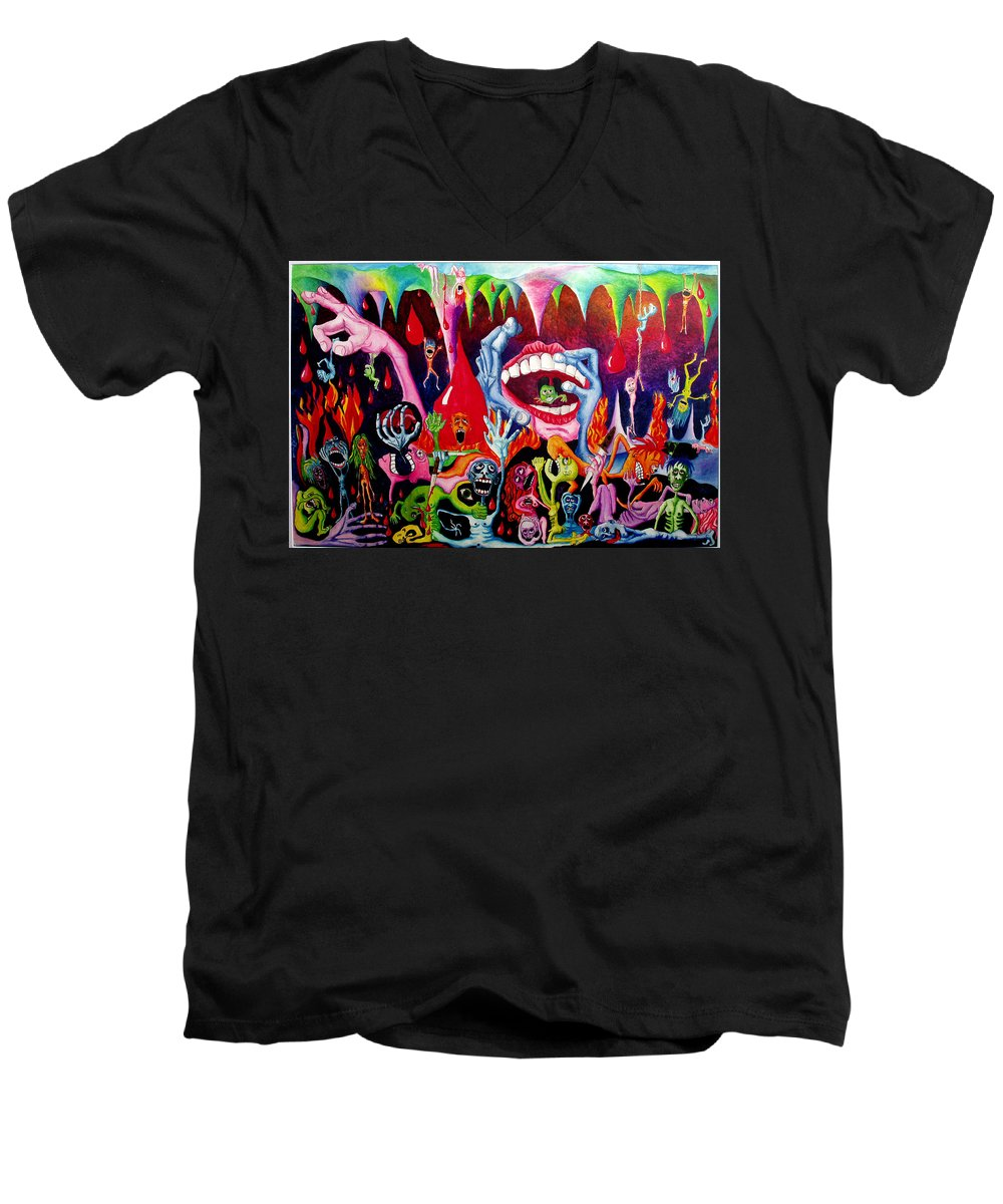 Hell Men's V-Neck T-Shirt featuring the painting Damnation Of The Evil by Nancy Mueller