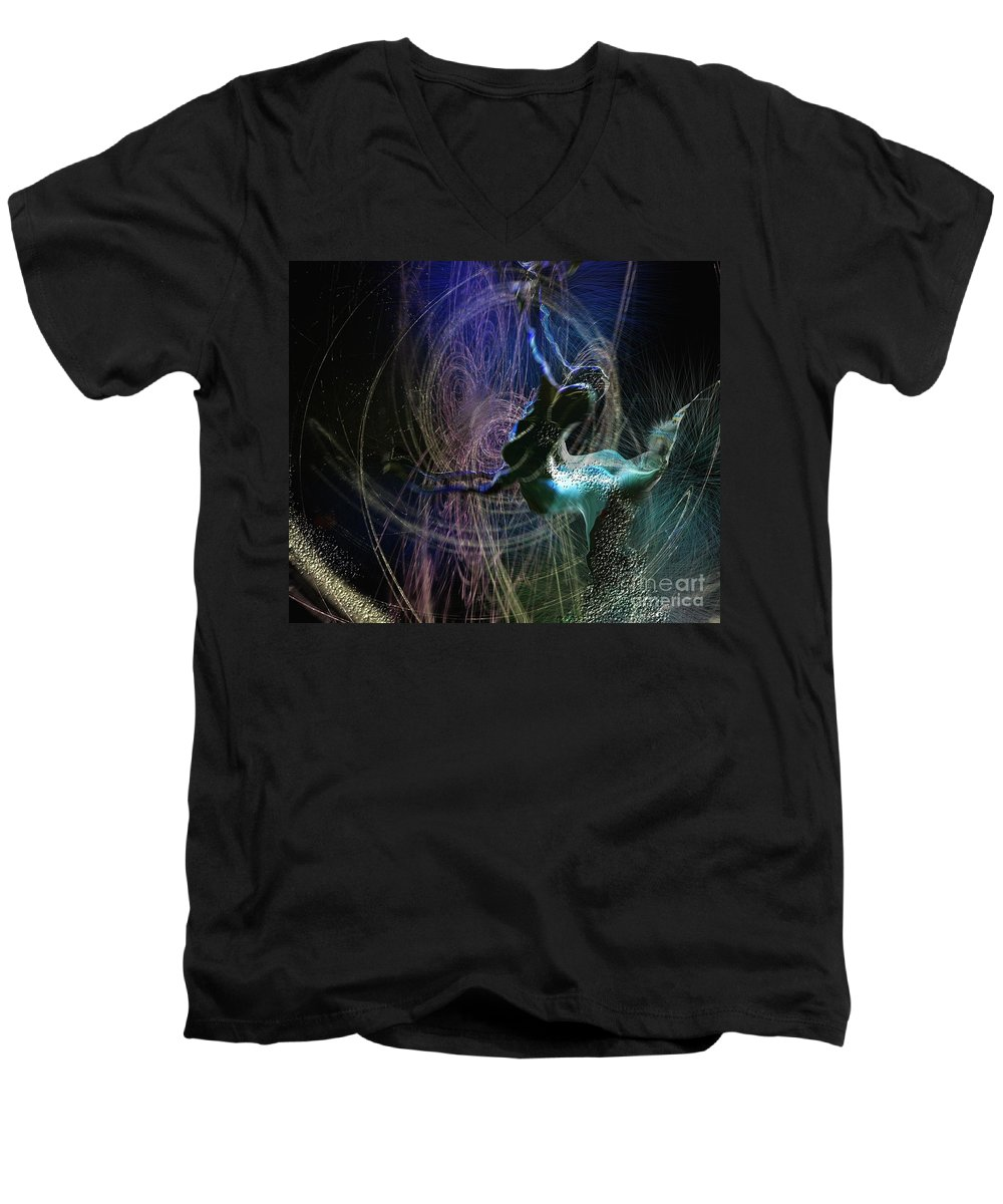 Nature Painting Men's V-Neck T-Shirt featuring the painting Dance Of The Universe by Miki De Goodaboom