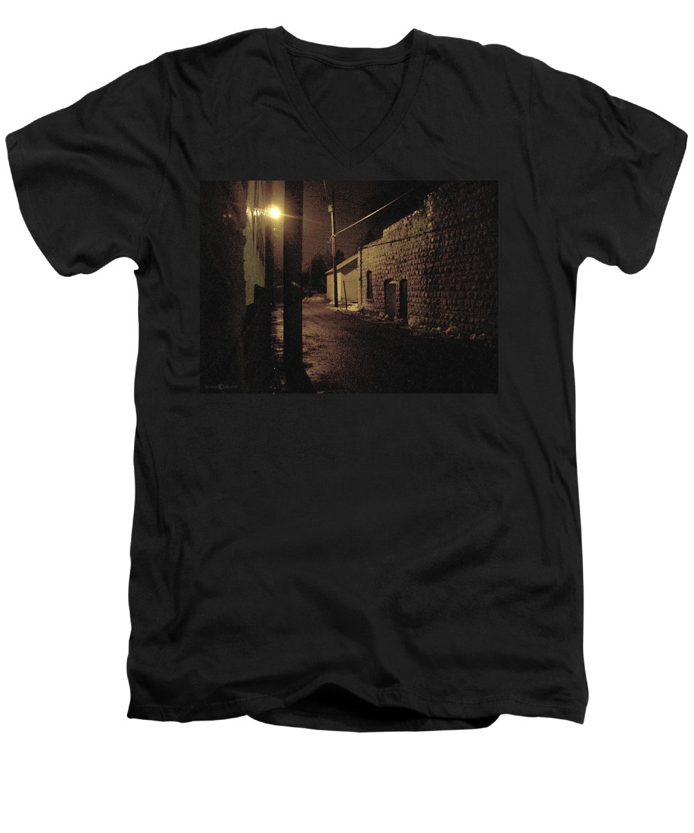 Alley Men's V-Neck T-Shirt featuring the photograph Dark Alley by Tim Nyberg