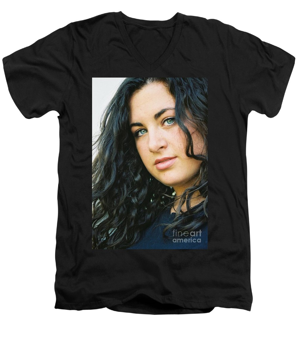 Blue Eyes Men's V-Neck T-Shirt featuring the photograph Dark Beauty by Nadine Rippelmeyer