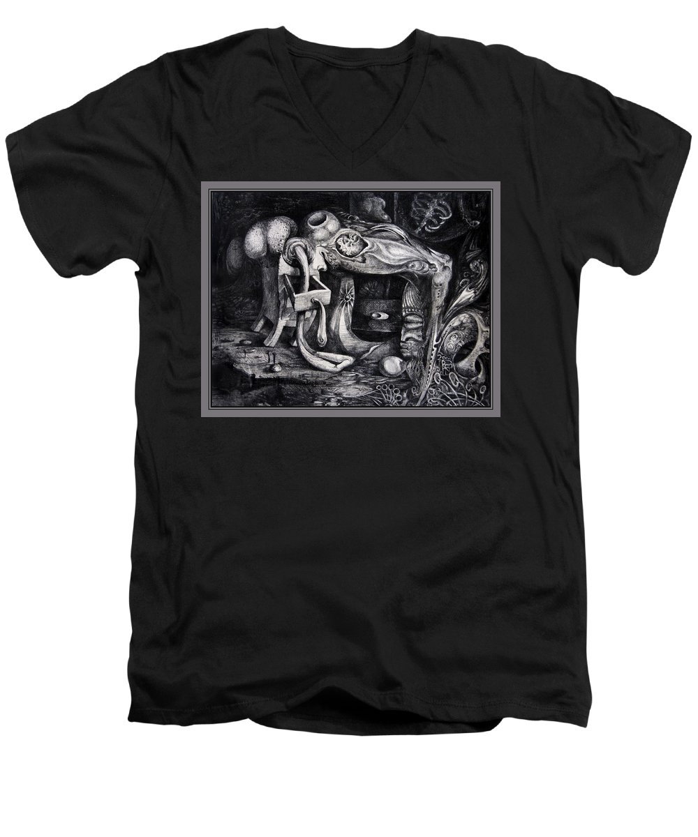 Drawing Men's V-Neck T-Shirt featuring the drawing Dark Surprise by Otto Rapp