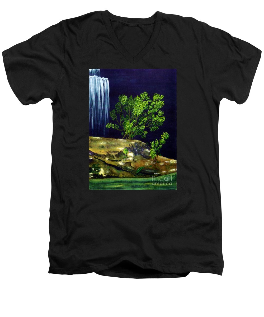 Fine Art Men's V-Neck T-Shirt featuring the painting Dark Waters by Patricia Griffin Brett
