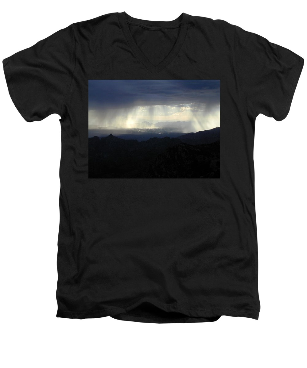 Darkness Men's V-Neck T-Shirt featuring the photograph Darkness Over The City by Douglas Barnett