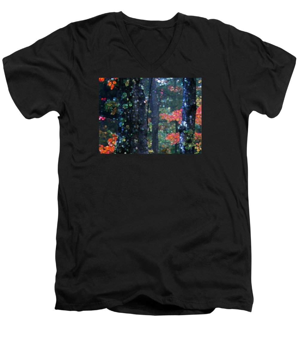 Landscape Men's V-Neck T-Shirt featuring the digital art Deep Woods Mystery by Dave Martsolf