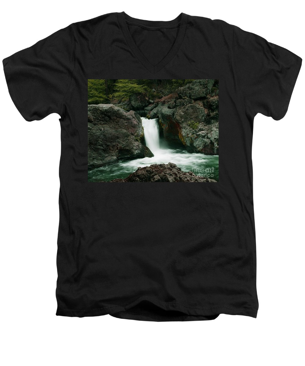 Creek Men's V-Neck T-Shirt featuring the photograph Deer Creek Falls by Peter Piatt