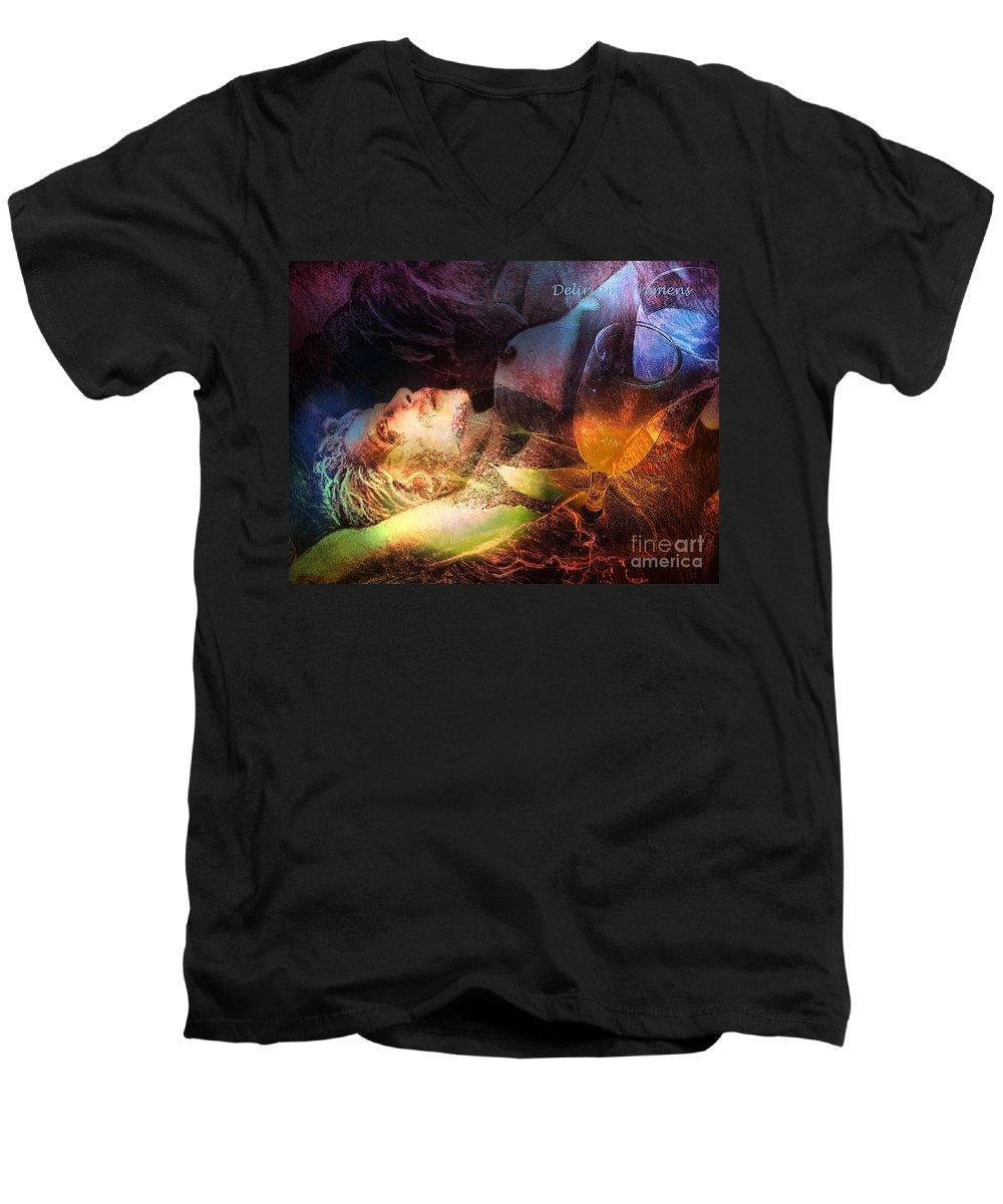 Fantasy Men's V-Neck T-Shirt featuring the painting Delirium Tremens by Miki De Goodaboom
