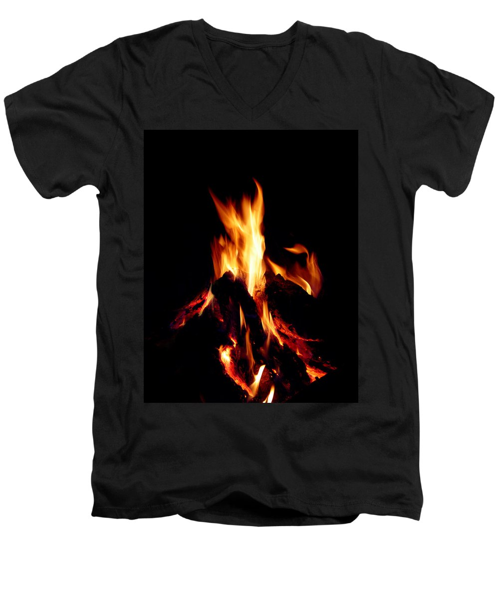 Devil Men's V-Neck T-Shirt featuring the photograph Devil Fire by Peter Piatt