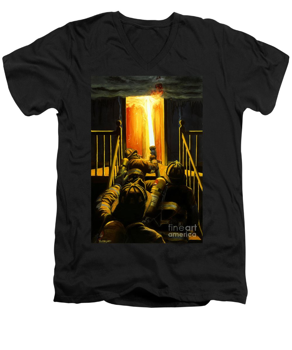 Firefighting Men's V-Neck T-Shirt featuring the painting Devil's Stairway by Paul Walsh