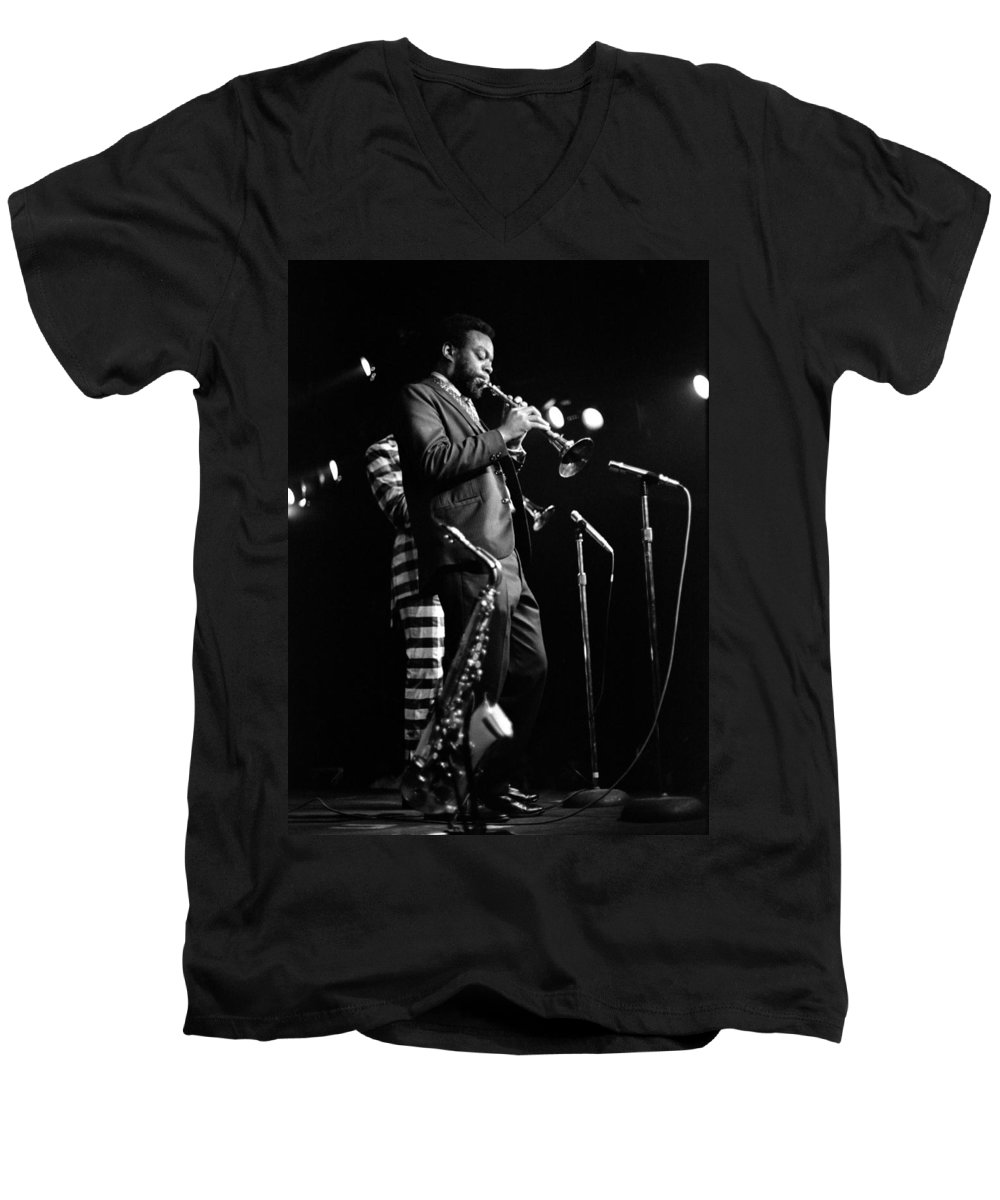 Ornette Coleman Men's V-Neck T-Shirt featuring the photograph Dewey Redman On Musette by Lee Santa