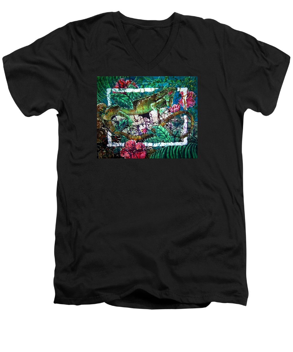 Iguana Men's V-Neck T-Shirt featuring the painting Dining At The Hibiscus Cafe - Iguana by Sue Duda