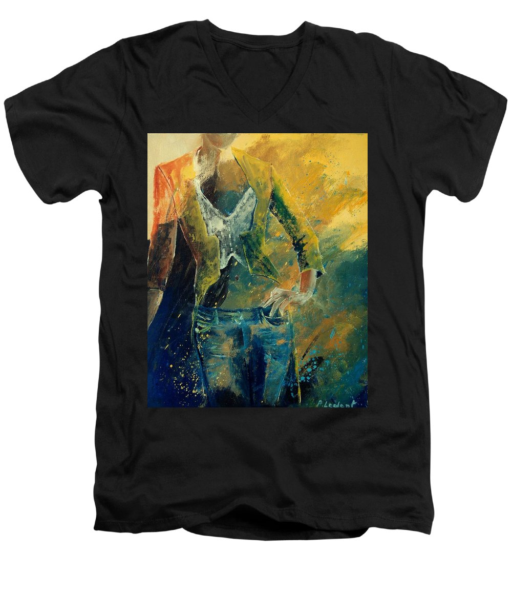 Woman Girl Fashion Men's V-Neck T-Shirt featuring the painting Dinner Jacket by Pol Ledent