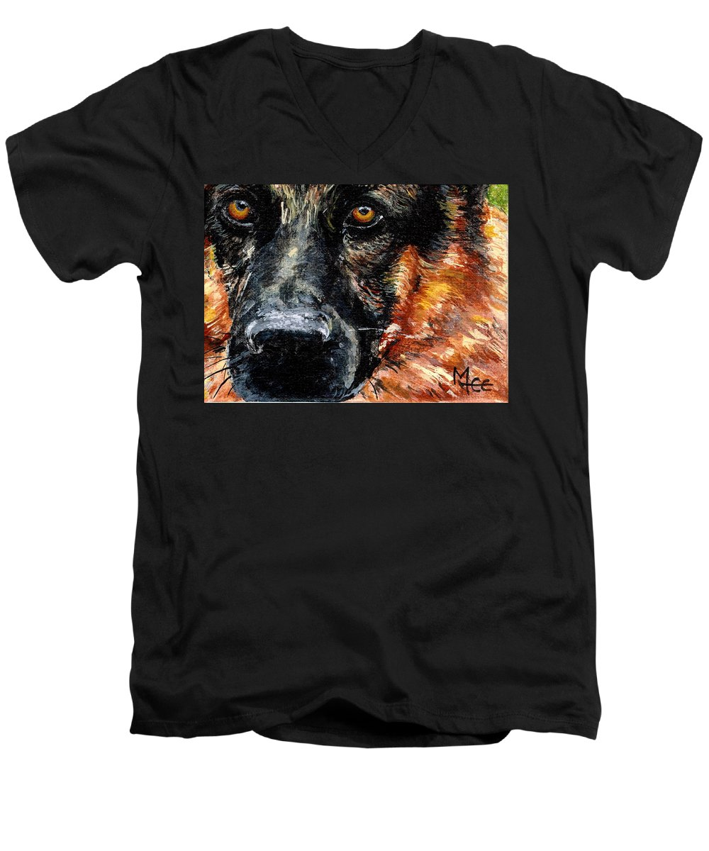 Charity Men's V-Neck T-Shirt featuring the painting Dixie by Mary-Lee Sanders