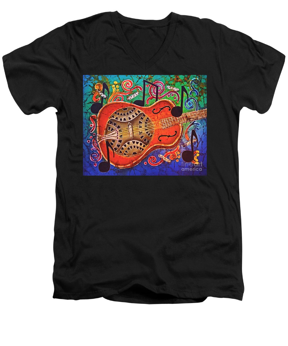 Dobro Men's V-Neck T-Shirt featuring the tapestry - textile Dobro - Slide Guitar by Sue Duda