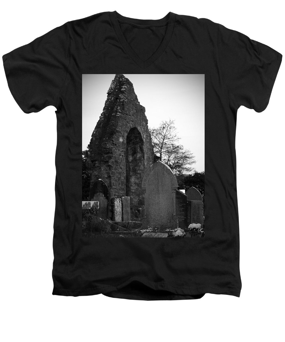 Irish Men's V-Neck T-Shirt featuring the photograph Donegal Abbey Ruins Donegal Ireland by Teresa Mucha