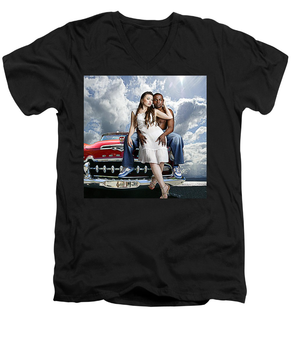 Auto Men's V-Neck T-Shirt featuring the photograph Downtown by Jeff Burgess