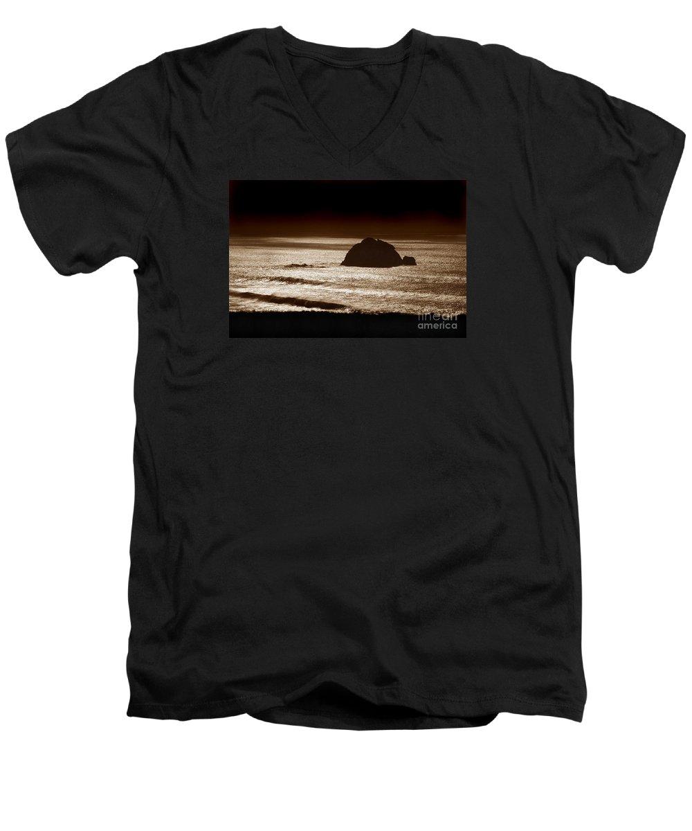 Big Sur Men's V-Neck T-Shirt featuring the photograph Drama On Big Sur by Michael Ziegler