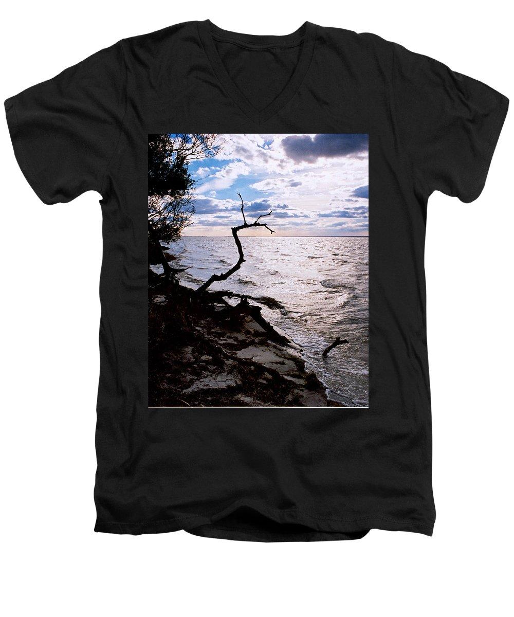 Barnegat Men's V-Neck T-Shirt featuring the photograph Driftwood Dragon-barnegat Bay by Steve Karol