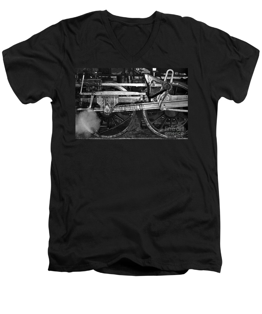 Trains Men's V-Neck T-Shirt featuring the photograph Driving Wheels by Richard Rizzo