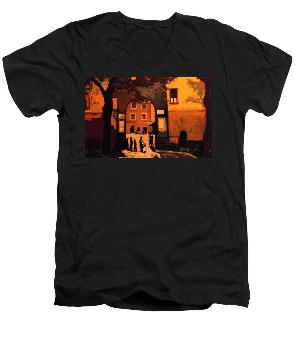 Cityscape Men's V-Neck T-Shirt featuring the painting Dusk by Kurt Hausmann