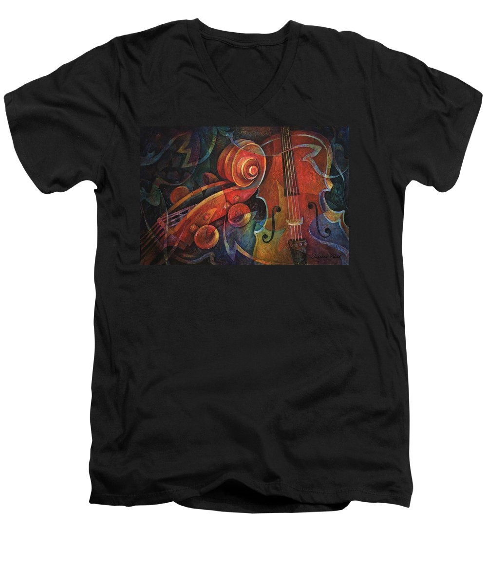 Susanne Clark Men's V-Neck T-Shirt featuring the painting Dynamic Duo - Cello And Scroll by Susanne Clark