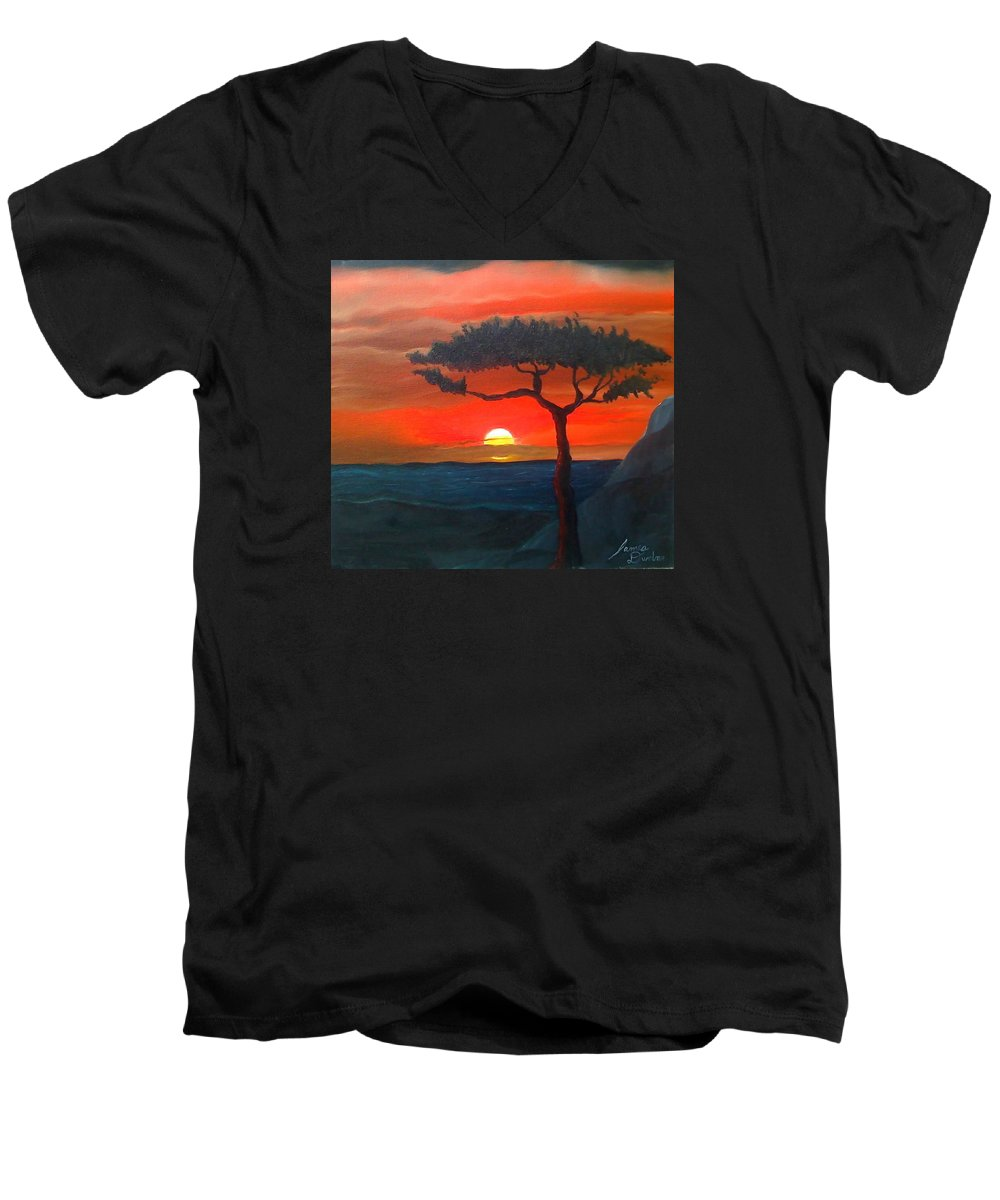 Africa! Men's V-Neck T-Shirt featuring the painting East African Sunset by Portland Art Creations