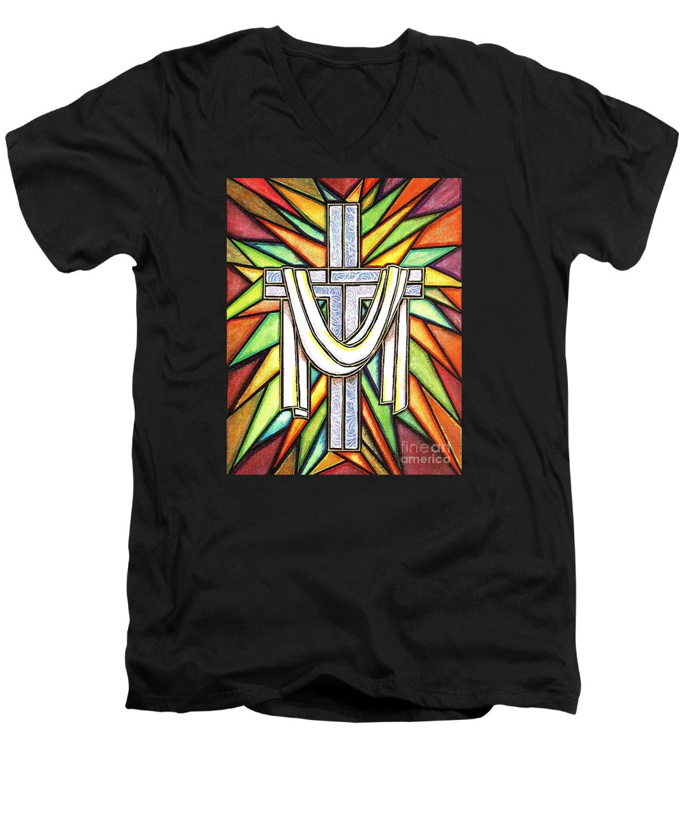 Cross Men's V-Neck T-Shirt featuring the painting Easter Cross 5 by Jim Harris