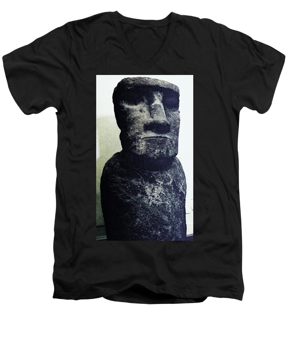 Easter Island Men's V-Neck T-Shirt featuring the painting Easter Island Stone Statue by Eric Schiabor