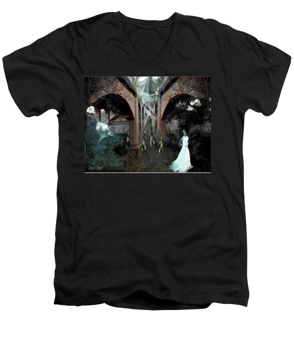 Eden Surreal Creatures Bridges Dreaming Men's V-Neck T-Shirt featuring the digital art Eden by Veronica Jackson
