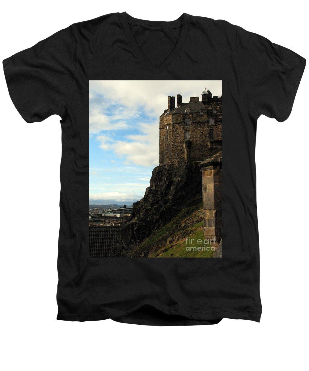 Castle Men's V-Neck T-Shirt featuring the photograph Edinburgh Castle by Amanda Barcon