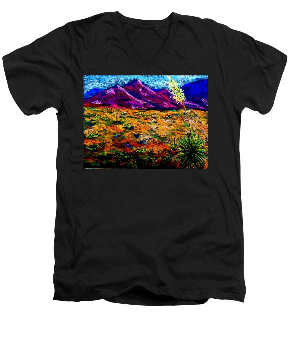Yucca Men's V-Neck T-Shirt featuring the painting El Paso by Melinda Etzold