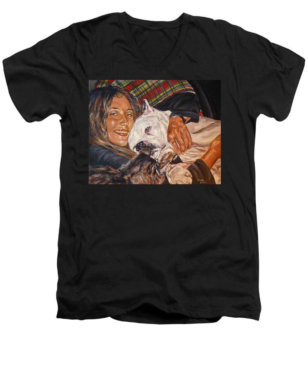 Pet Men's V-Neck T-Shirt featuring the painting Elvis And Friend by Bryan Bustard