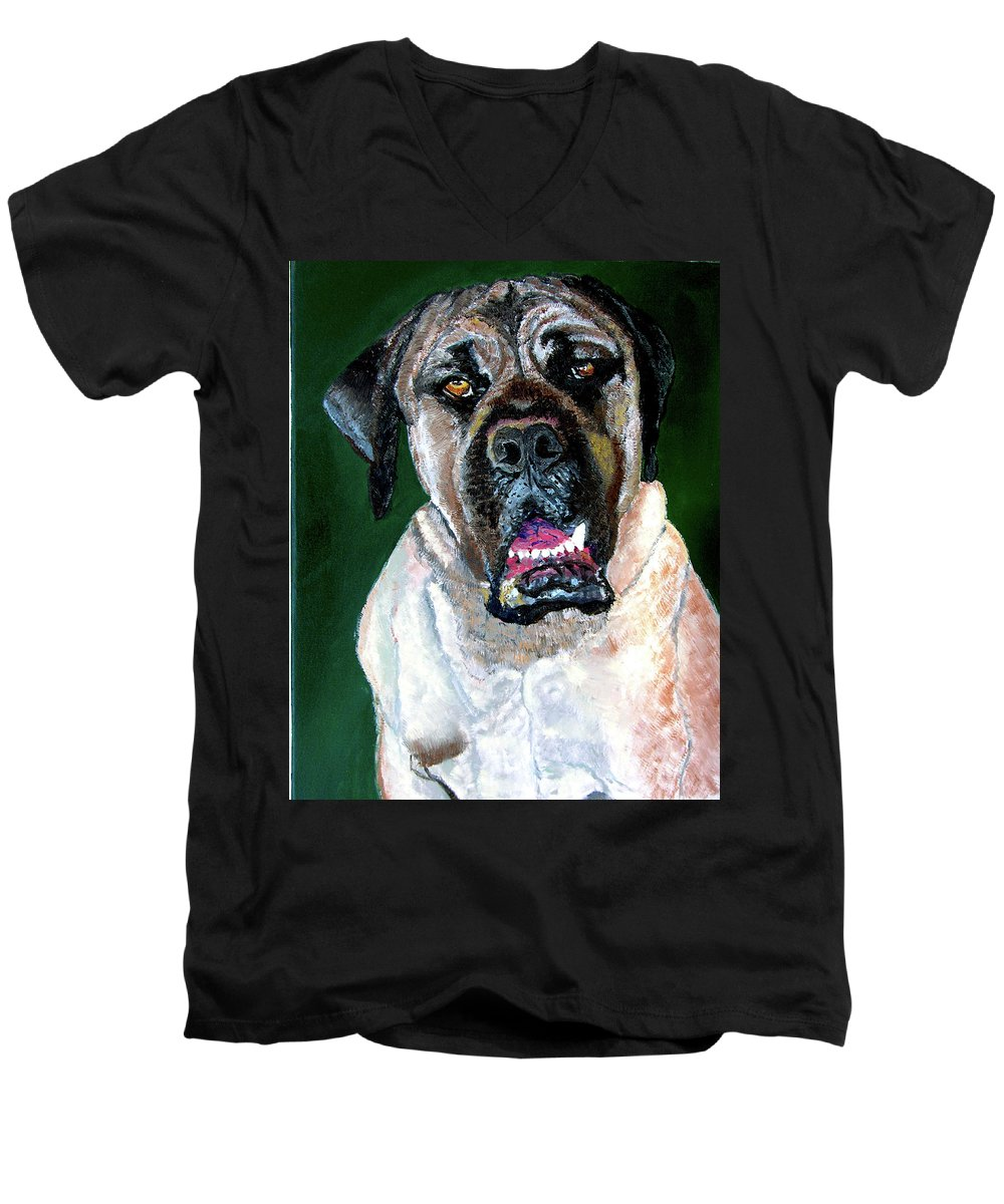 Dog Portrait Men's V-Neck T-Shirt featuring the painting Ely by Stan Hamilton
