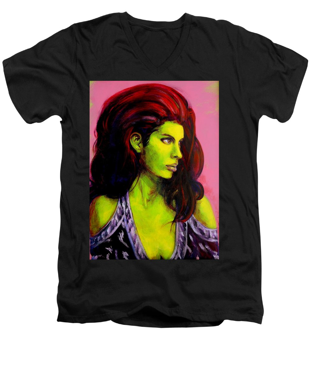 Girl Men's V-Neck T-Shirt featuring the painting Empress At Rest by Jason Reinhardt