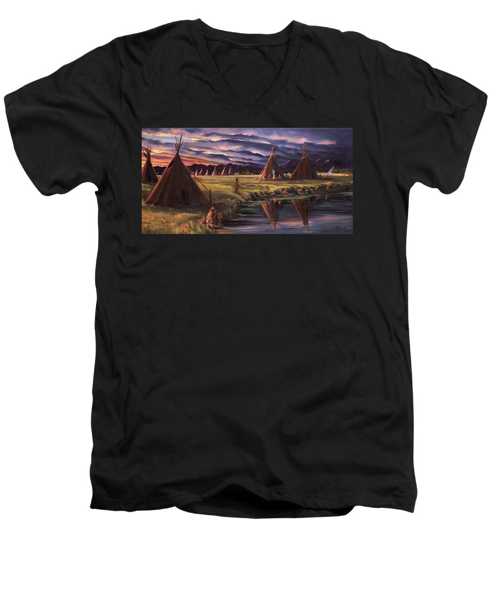 Native American Men's V-Neck T-Shirt featuring the painting Encampment At Dusk by Nancy Griswold