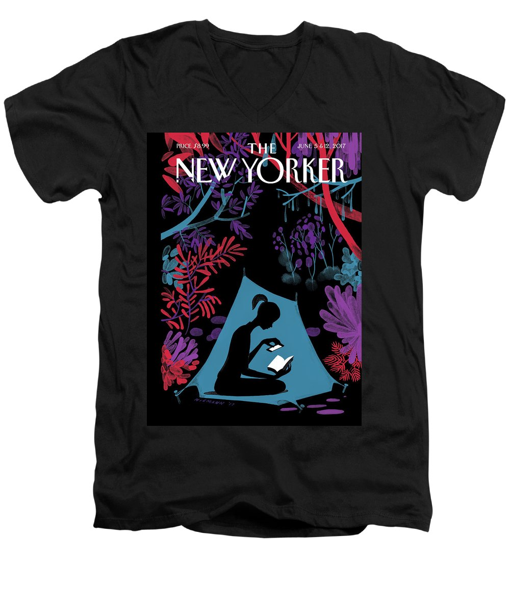 144373 Men's V-Neck T-Shirt featuring the drawing Enchanted Forest by Christoph Niemann