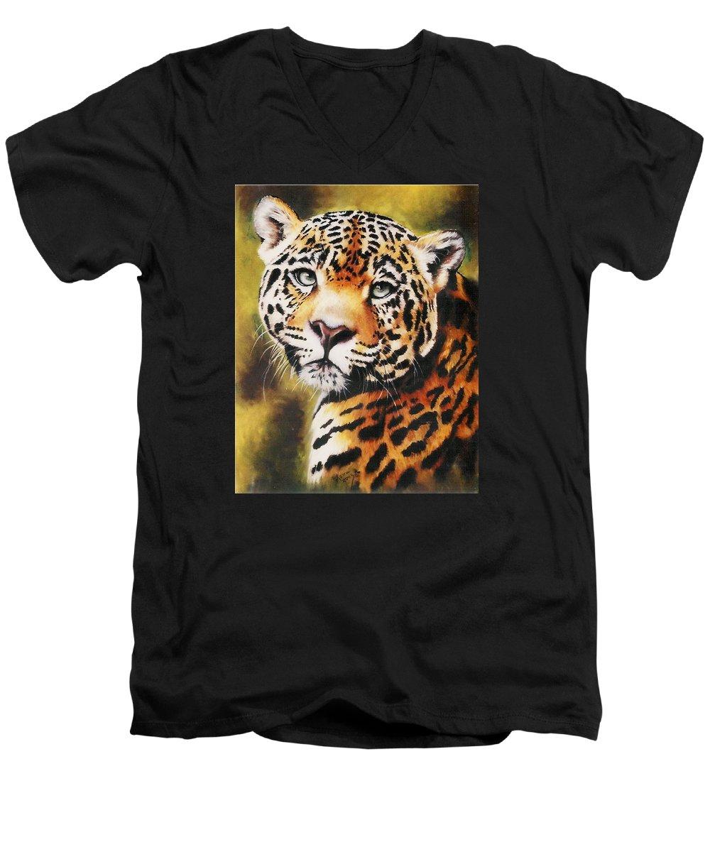 Jaguar Men's V-Neck T-Shirt featuring the pastel Enchantress by Barbara Keith