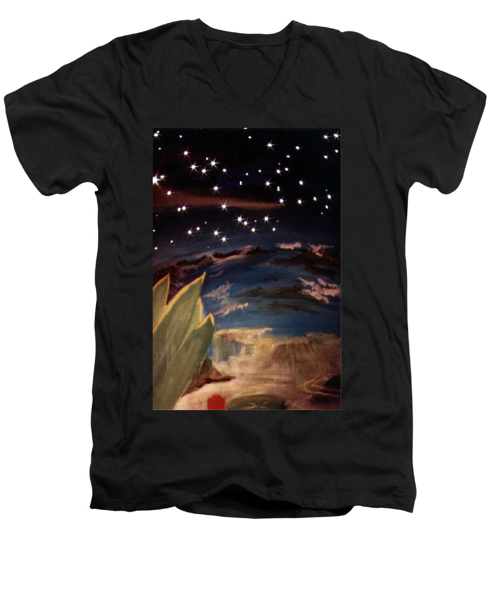 Surreal Men's V-Neck T-Shirt featuring the painting Enter My Dream by Steve Karol