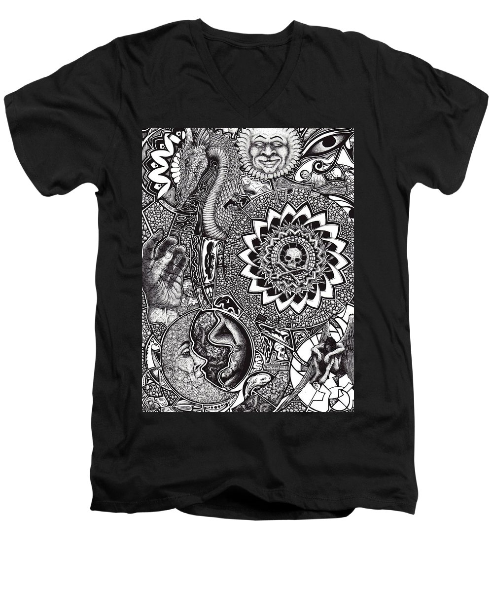 Black And White Men's V-Neck T-Shirt featuring the drawing Epiphany by Tobey Anderson