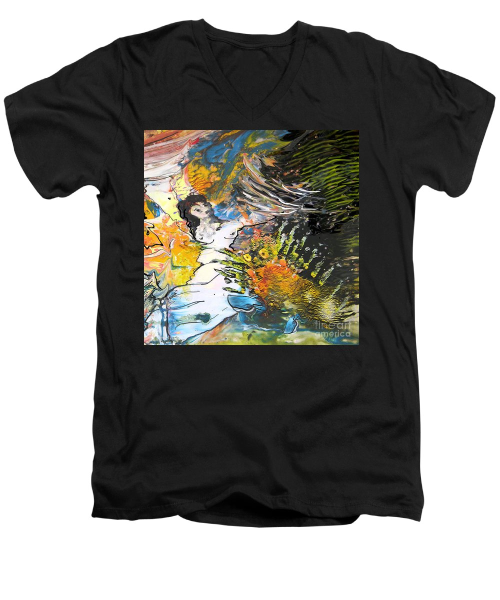 Miki Men's V-Neck T-Shirt featuring the painting Erotype 07 2 by Miki De Goodaboom