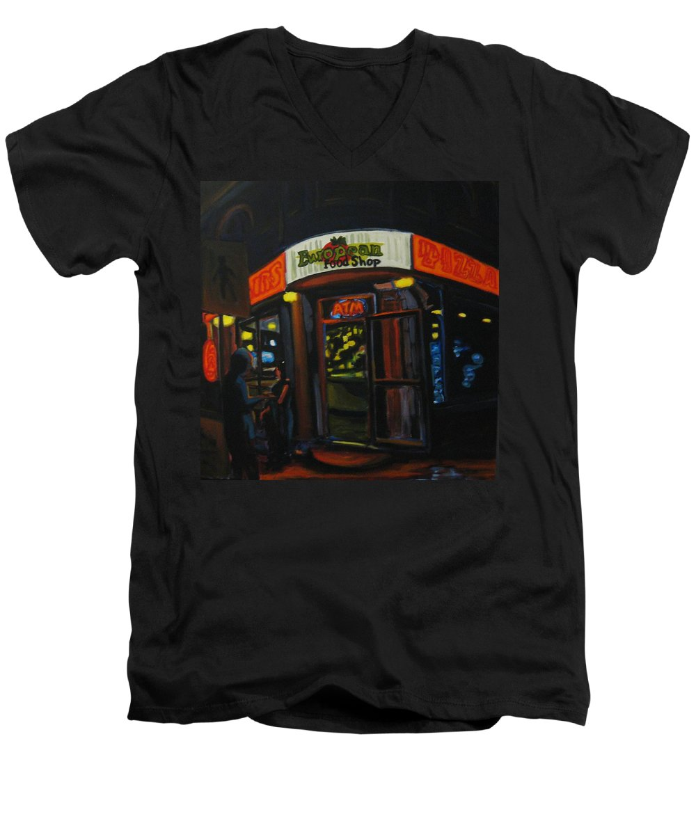 City Men's V-Neck T-Shirt featuring the painting European Food Shop by John Malone
